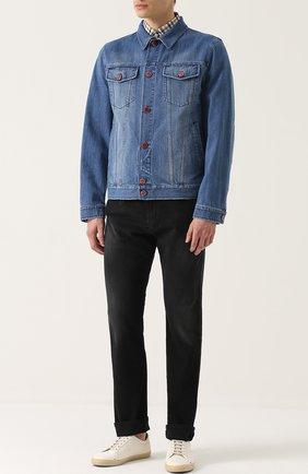 Мужская джинсовая куртка с отложным воротником и контрастными пуговицами KITON голубого цвета, арт. UW0215/7N82 | Фото 2