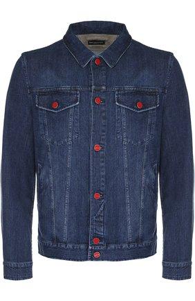 Мужская джинсовая куртка с отложным воротником и контрастными пуговицами KITON темно-синего цвета, арт. UW0215/7N82 | Фото 1