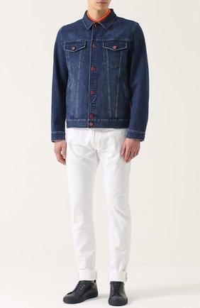 Мужская джинсовая куртка с отложным воротником и контрастными пуговицами KITON темно-синего цвета, арт. UW0215/7N82 | Фото 2