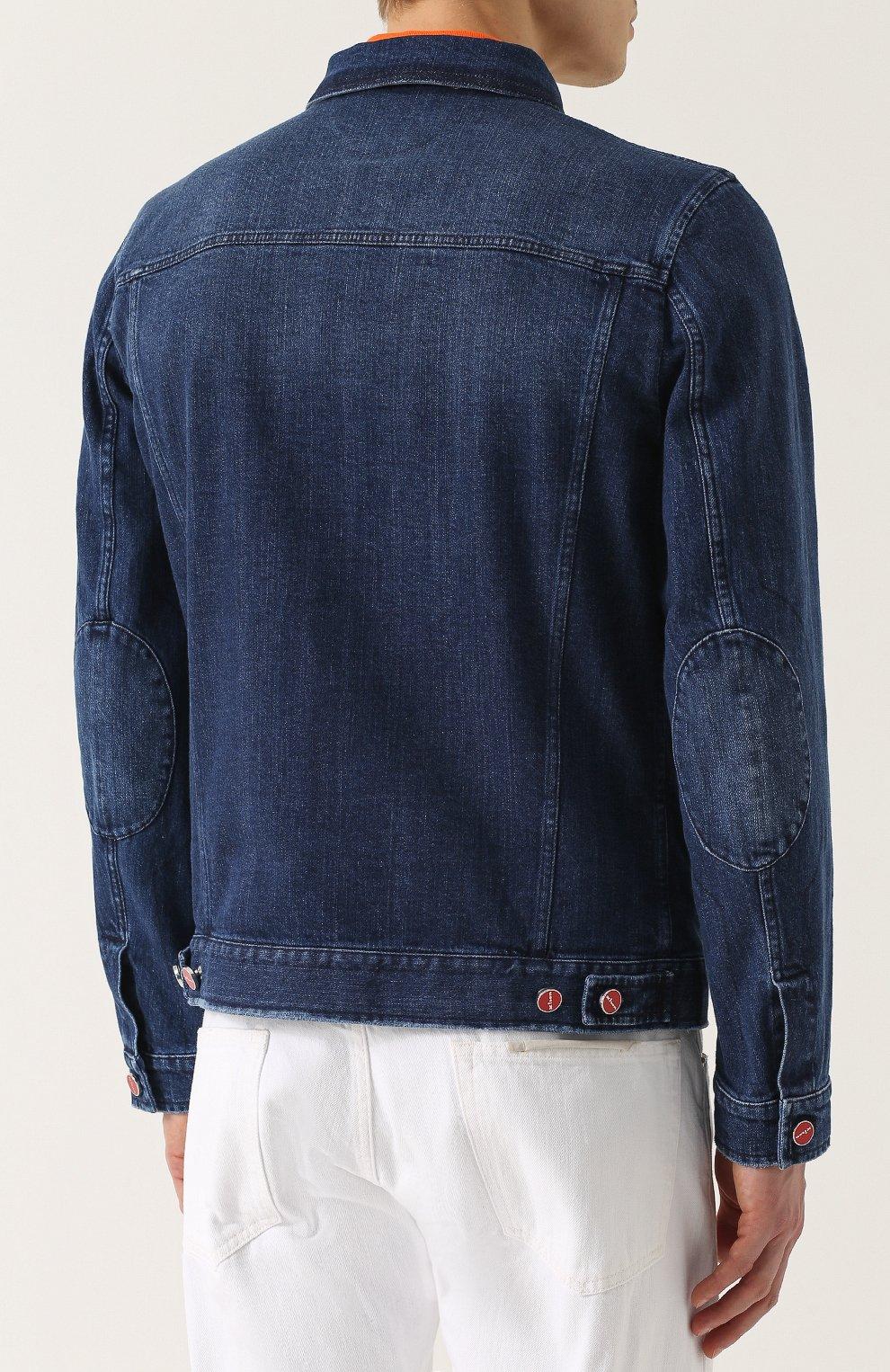 a344e70c324 Джинсовая куртка с отложным воротником и контрастными пуговицами Kiton  темно-синяя
