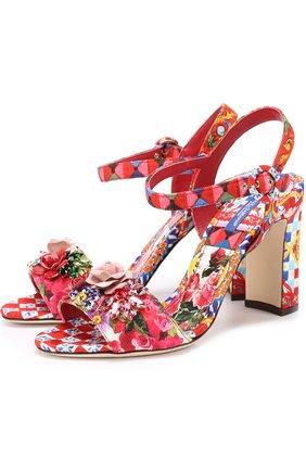 Босоножки Keira из текстиля с принтом и аппликациями Dolce & Gabbana разноцветные   Фото №1