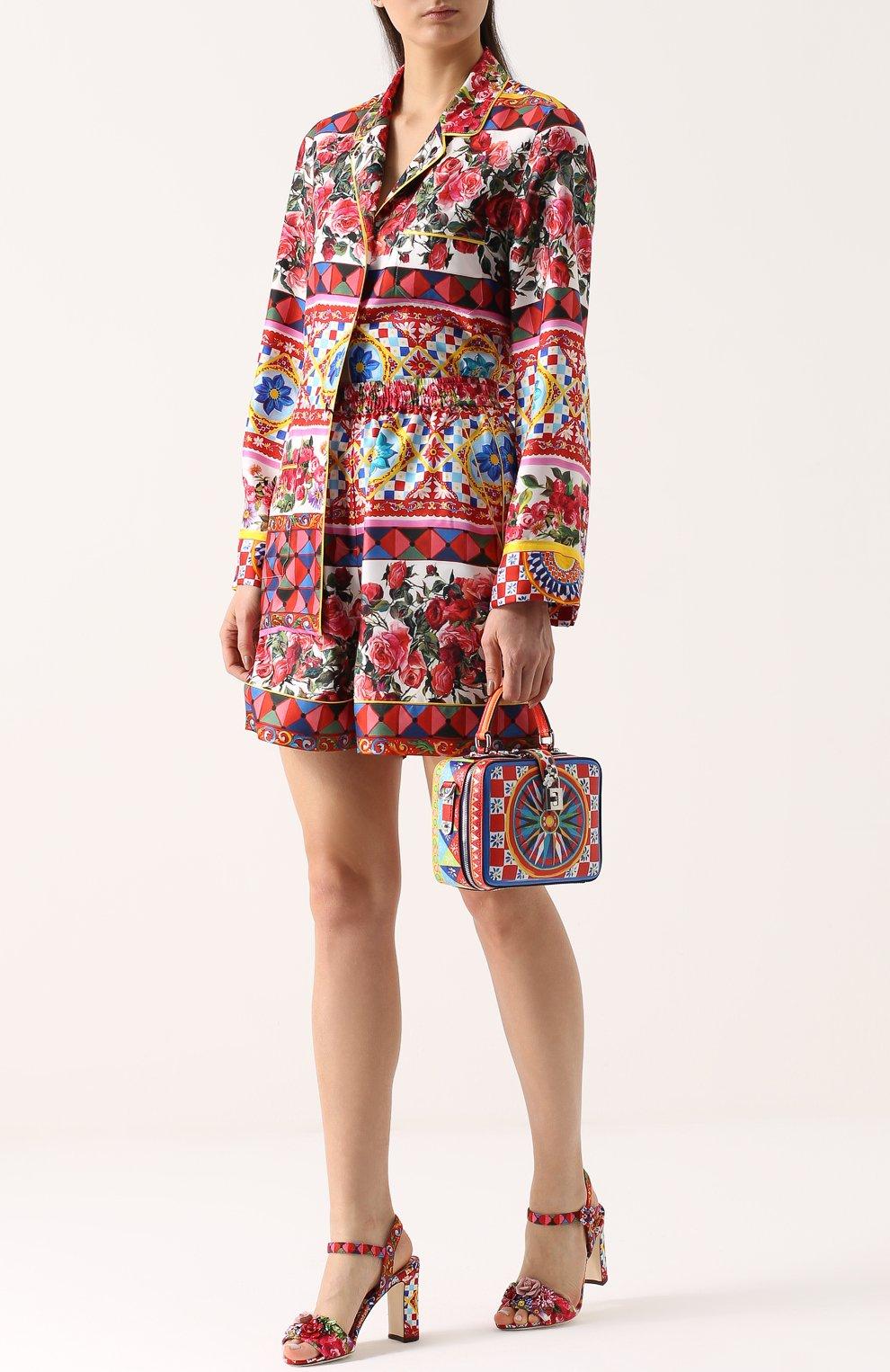Босоножки Keira из текстиля с принтом и аппликациями Dolce & Gabbana разноцветные   Фото №2