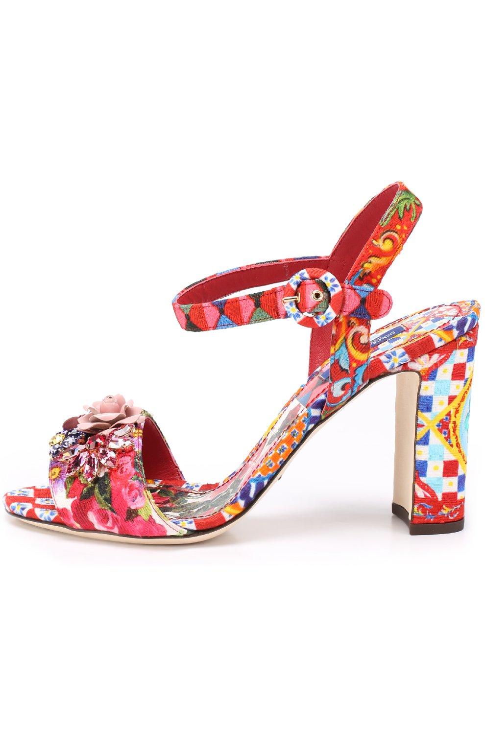 Босоножки Keira из текстиля с принтом и аппликациями Dolce & Gabbana разноцветные   Фото №3