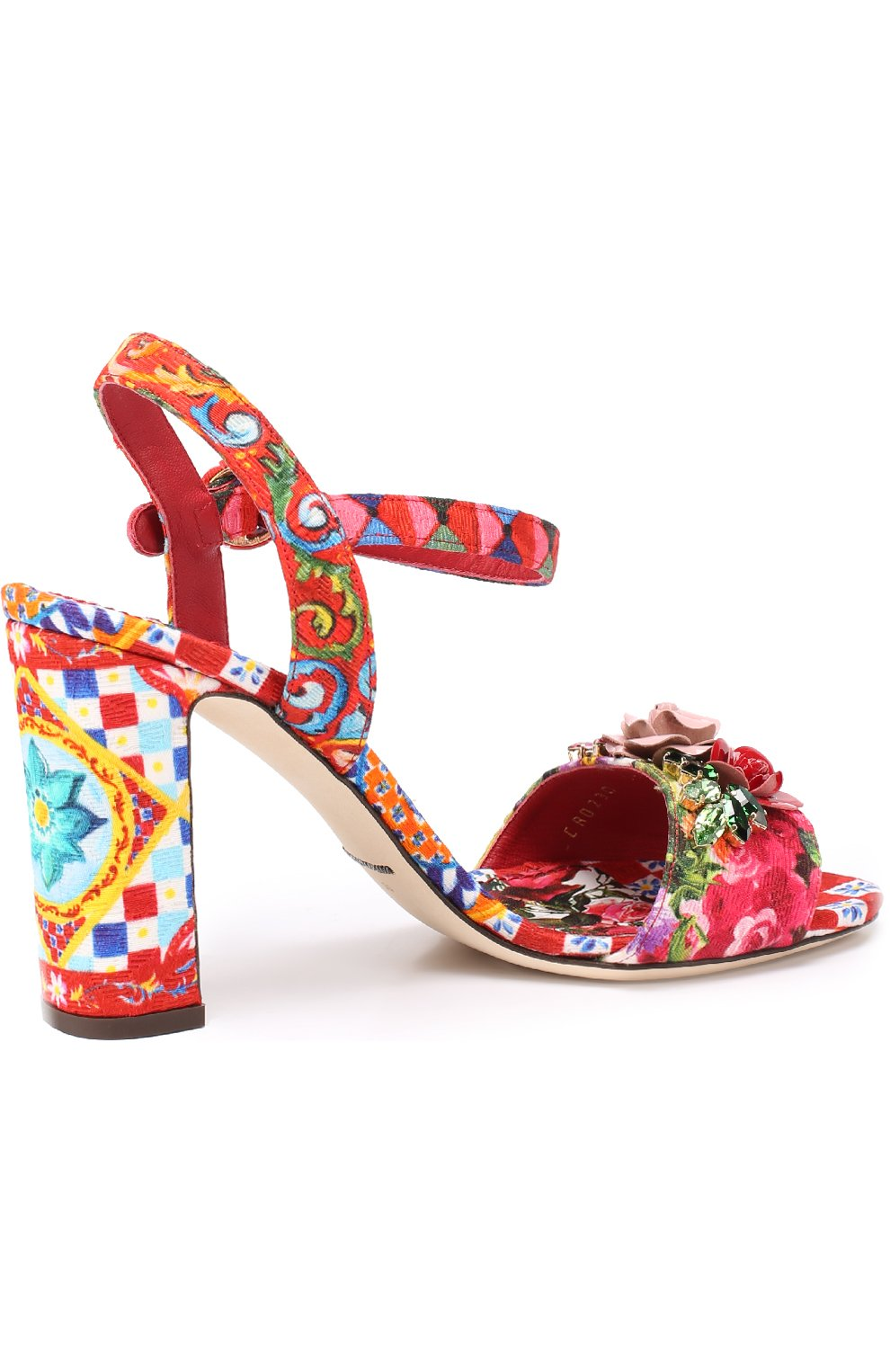 Босоножки Keira из текстиля с принтом и аппликациями Dolce & Gabbana разноцветные   Фото №4
