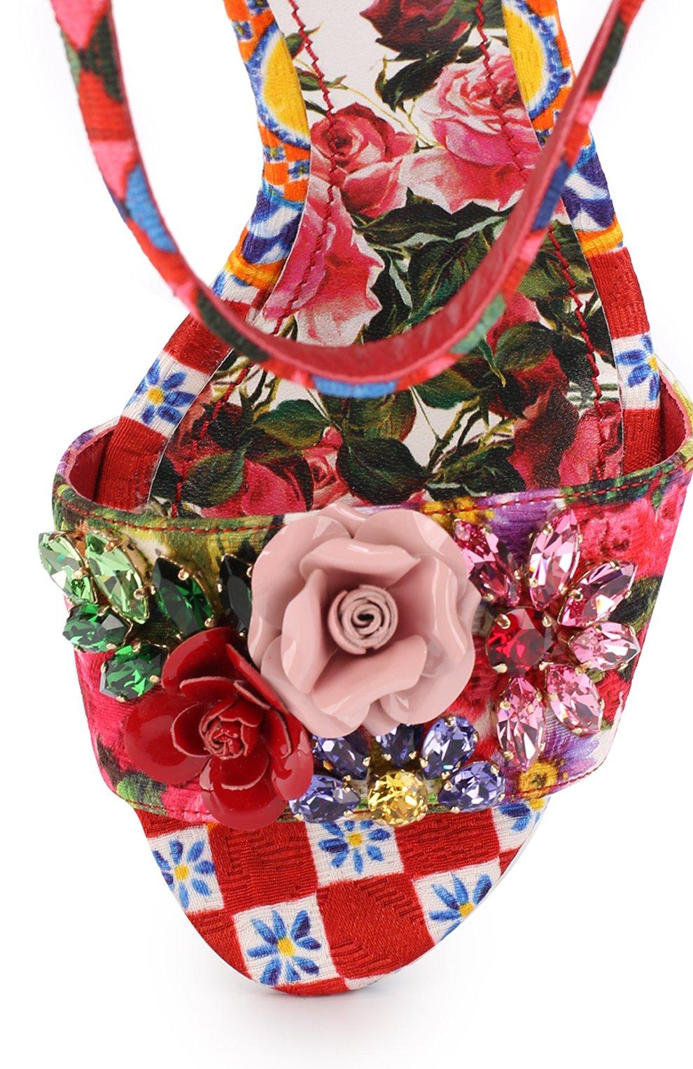 Босоножки Keira из текстиля с принтом и аппликациями Dolce & Gabbana разноцветные   Фото №5