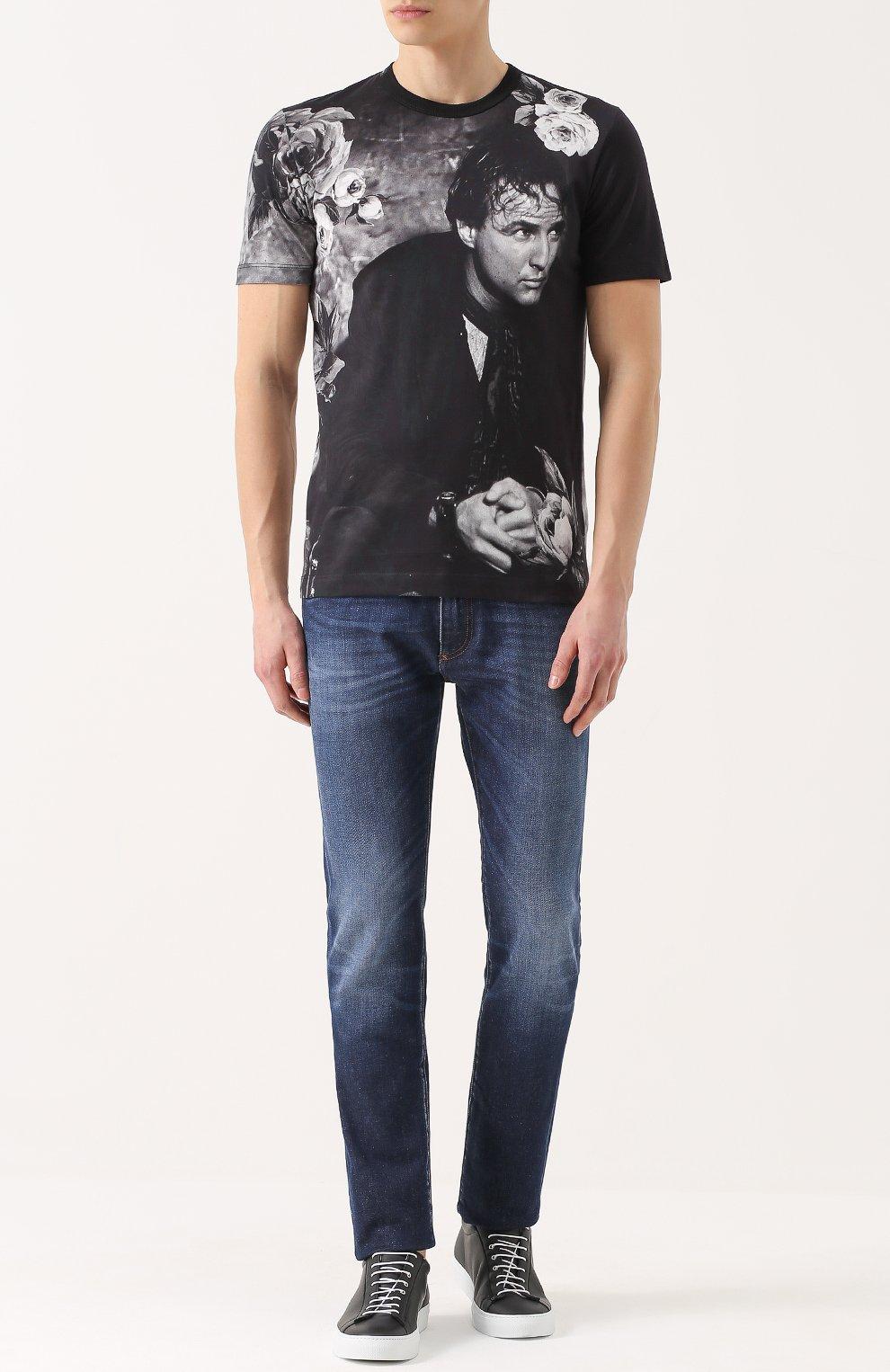 Хлопковая футболка с принтом Dolce & Gabbana темно-серая   Фото №2