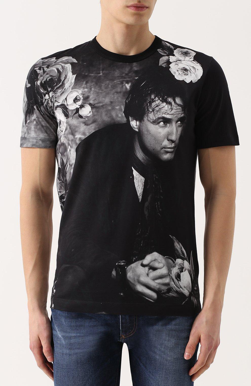 Хлопковая футболка с принтом Dolce & Gabbana темно-серая   Фото №3