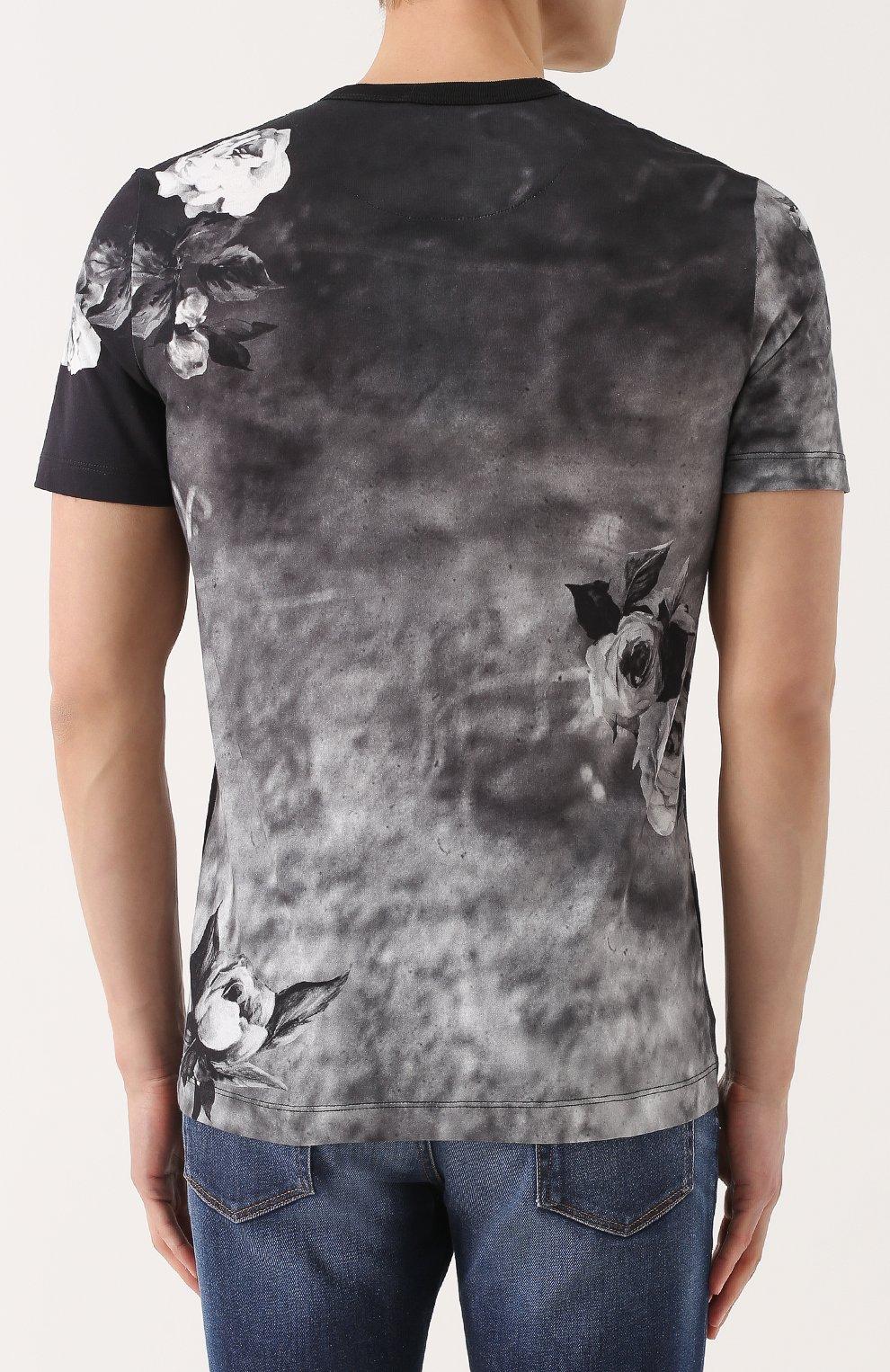 Хлопковая футболка с принтом Dolce & Gabbana темно-серая   Фото №4
