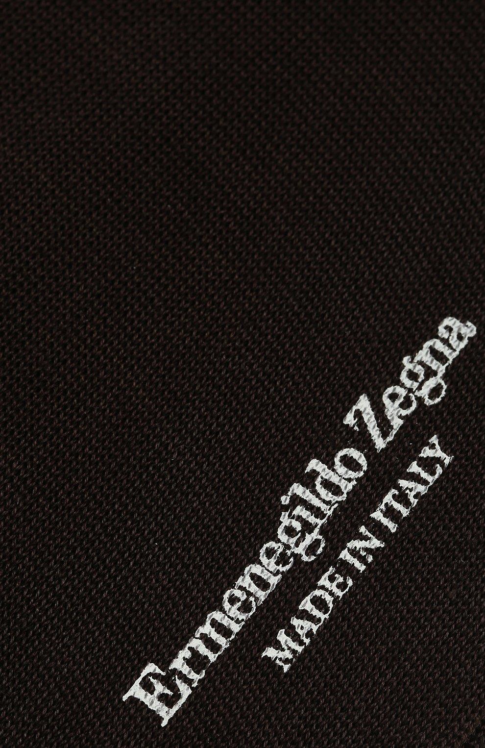 Мужские хлопковые носки ERMENEGILDO ZEGNA коричневого цвета, арт. N4V400020   Фото 2