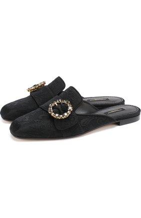 Сабо из текстиля с пряжкой Dolce & Gabbana черные | Фото №1