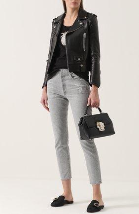 Сабо из текстиля с пряжкой Dolce & Gabbana черные | Фото №2