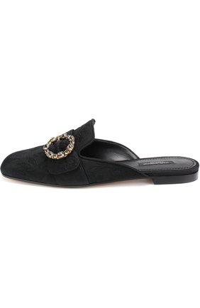 Сабо из текстиля с пряжкой Dolce & Gabbana черные | Фото №3