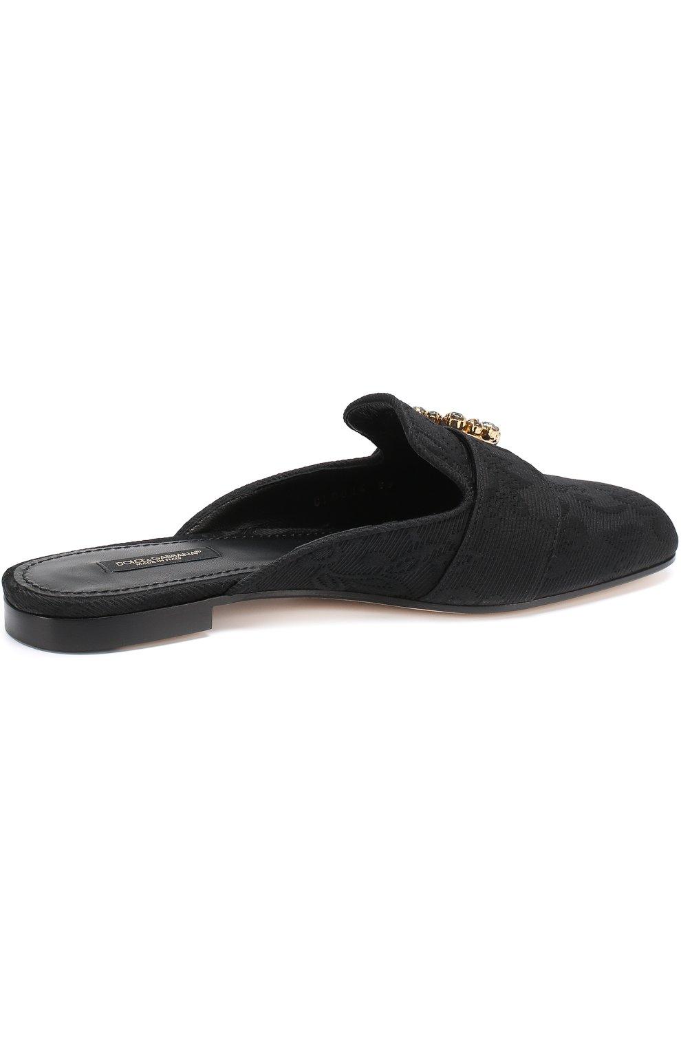 Сабо из текстиля с пряжкой Dolce & Gabbana черные | Фото №4