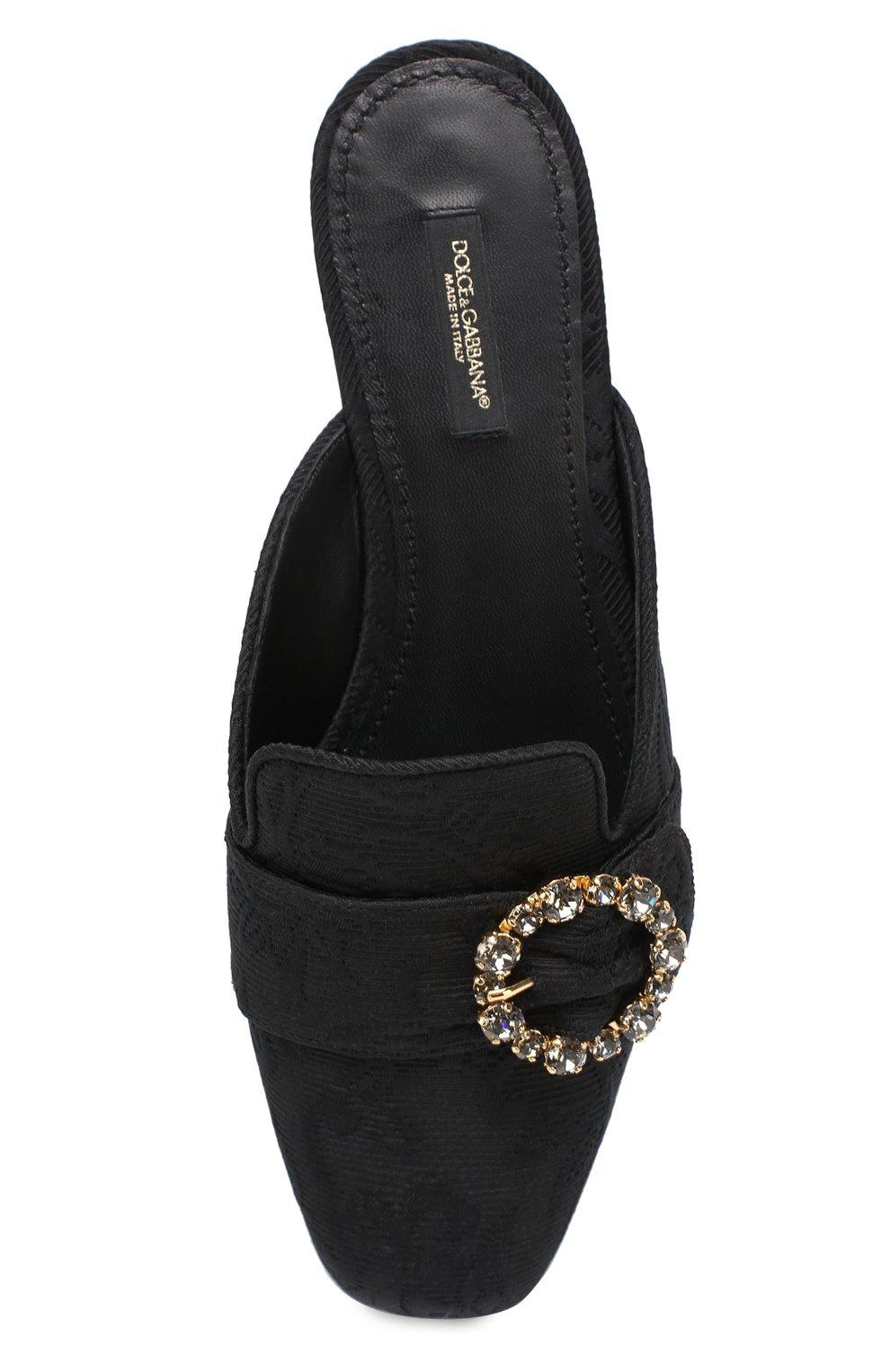 Сабо из текстиля с пряжкой Dolce & Gabbana черные | Фото №5