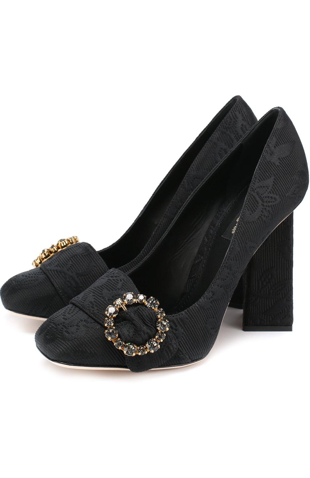 Туфли Jackie из текстиля на геометричном каблуке | Фото №1