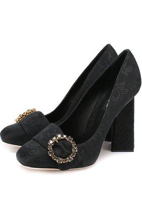 Туфли Jackie из текстиля на геометричном каблуке Dolce & Gabbana черные | Фото №1