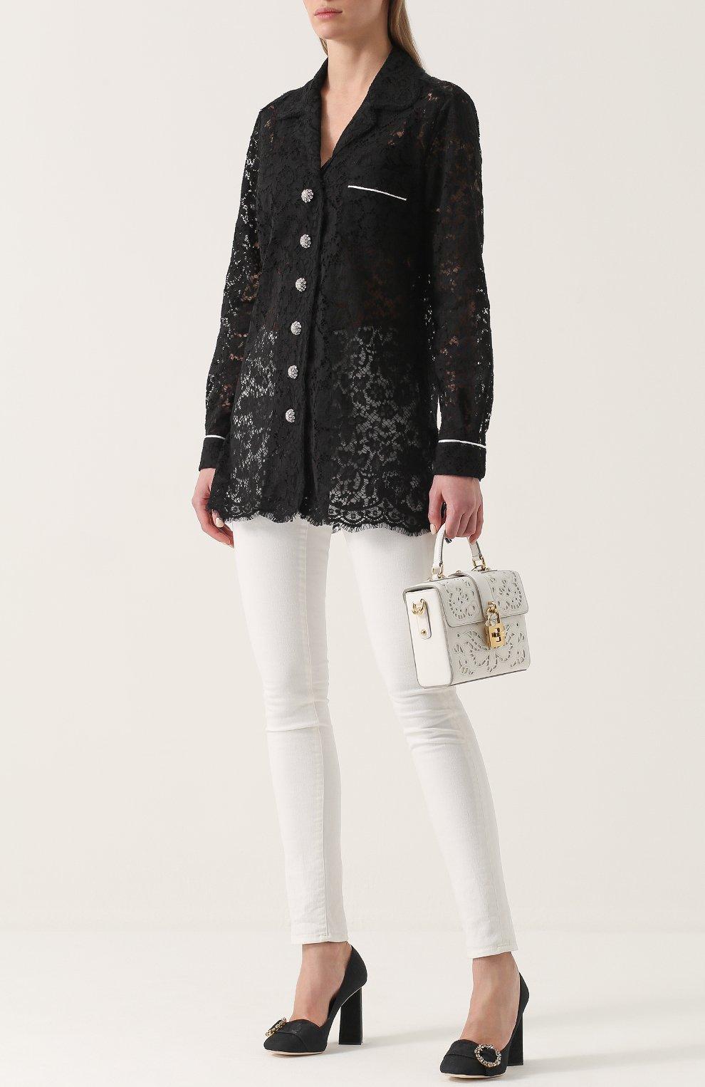 Туфли Jackie из текстиля на геометричном каблуке Dolce & Gabbana черные | Фото №2