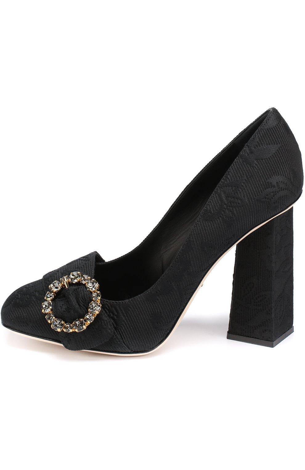 Туфли Jackie из текстиля на геометричном каблуке Dolce & Gabbana черные | Фото №3