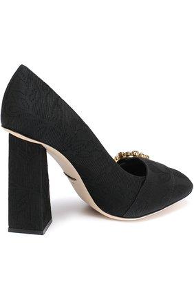 Туфли Jackie из текстиля на геометричном каблуке Dolce & Gabbana черные | Фото №4