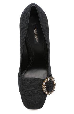 Туфли Jackie из текстиля на геометричном каблуке Dolce & Gabbana черные | Фото №5