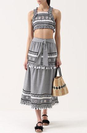 Хлопковая юбка-миди с контрастной отделкой и поясом Dodo Bar Or черно-белая | Фото №1