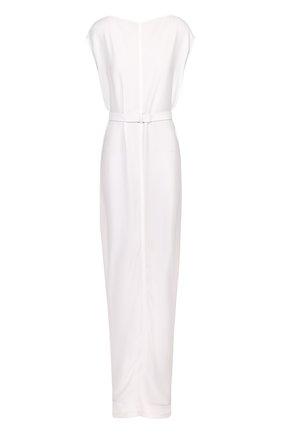 Платье-макси с вырезом-лодочка и поясом Rick Owens белое | Фото №1