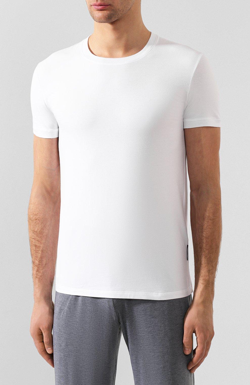 Хлопковая футболка с круглым вырезом Dolce & Gabbana белая | Фото №3