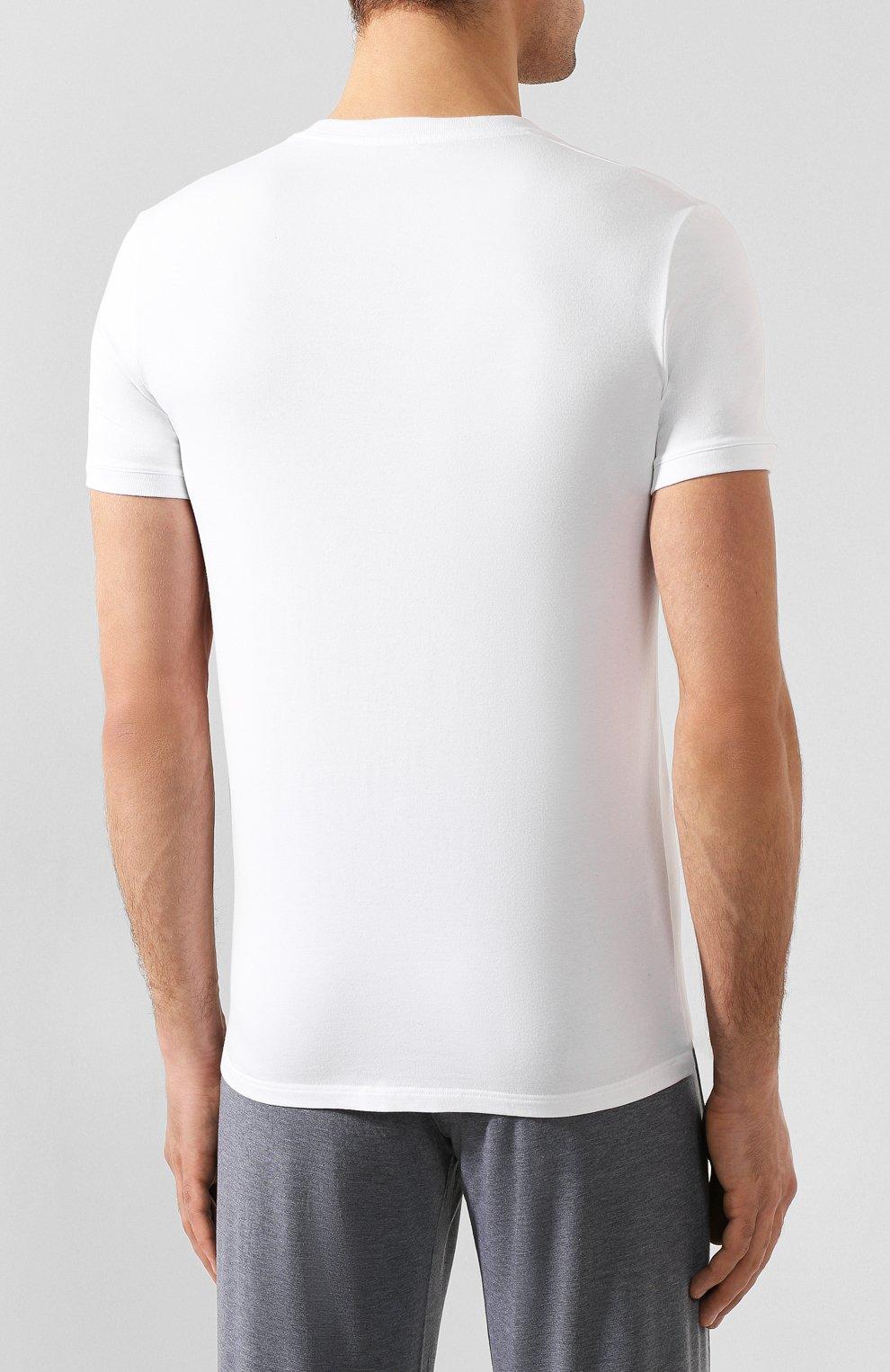 Хлопковая футболка с круглым вырезом Dolce & Gabbana белая | Фото №4