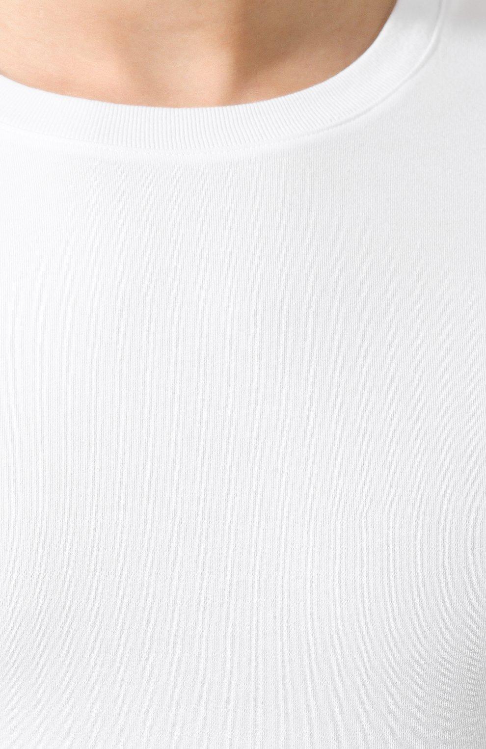 Хлопковая футболка с круглым вырезом Dolce & Gabbana белая | Фото №5