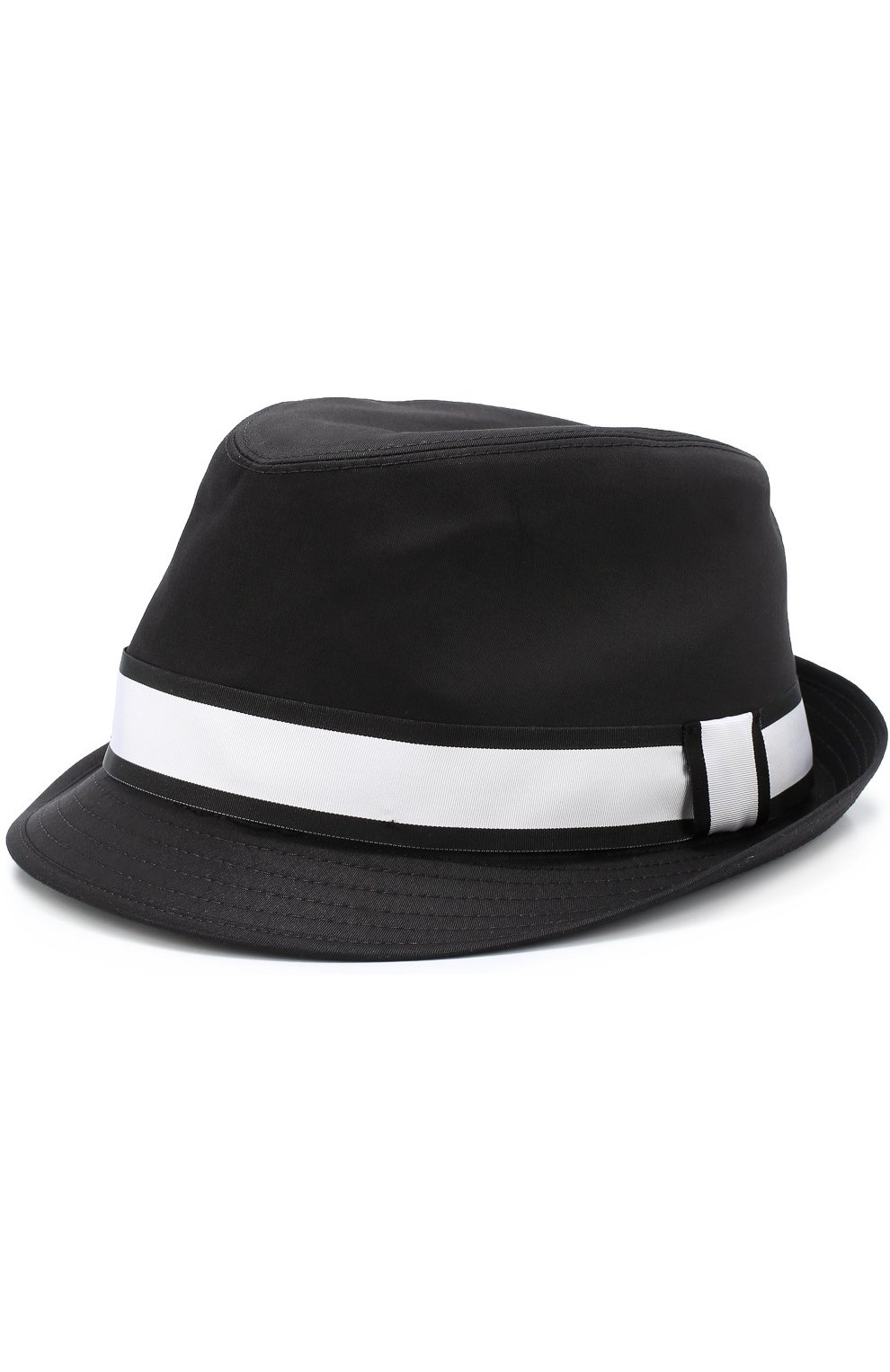 Хлопковая шляпа-федора с контрастной лентой | Фото №1