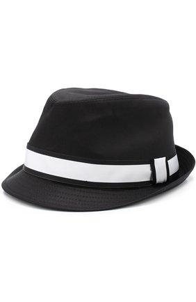 Хлопковая шляпа-федора с контрастной лентой Dolce & Gabbana черного цвета | Фото №1