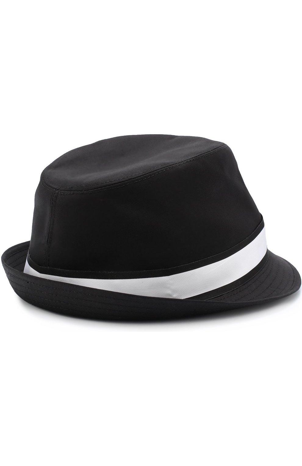 Хлопковая шляпа-федора с контрастной лентой Dolce & Gabbana черного цвета | Фото №2