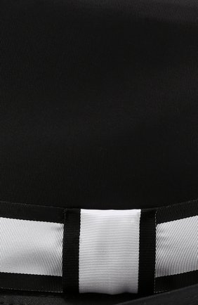 Хлопковая шляпа-федора с контрастной лентой Dolce & Gabbana черного цвета | Фото №3