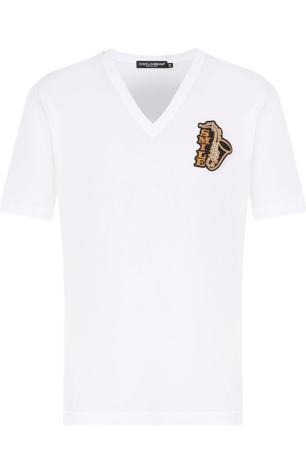 Хлопковая футболка с V-образным вырезом и аппликацией | Фото №1