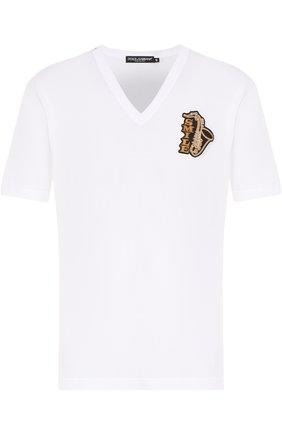 Хлопковая футболка с V-образным вырезом и аппликацией Dolce & Gabbana белая | Фото №1