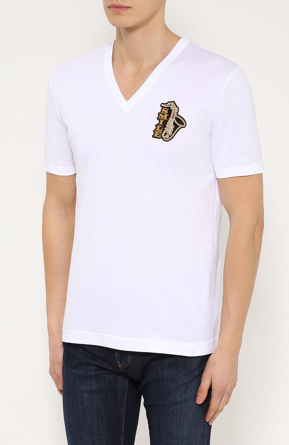 Хлопковая футболка с V-образным вырезом и аппликацией Dolce & Gabbana белая | Фото №3