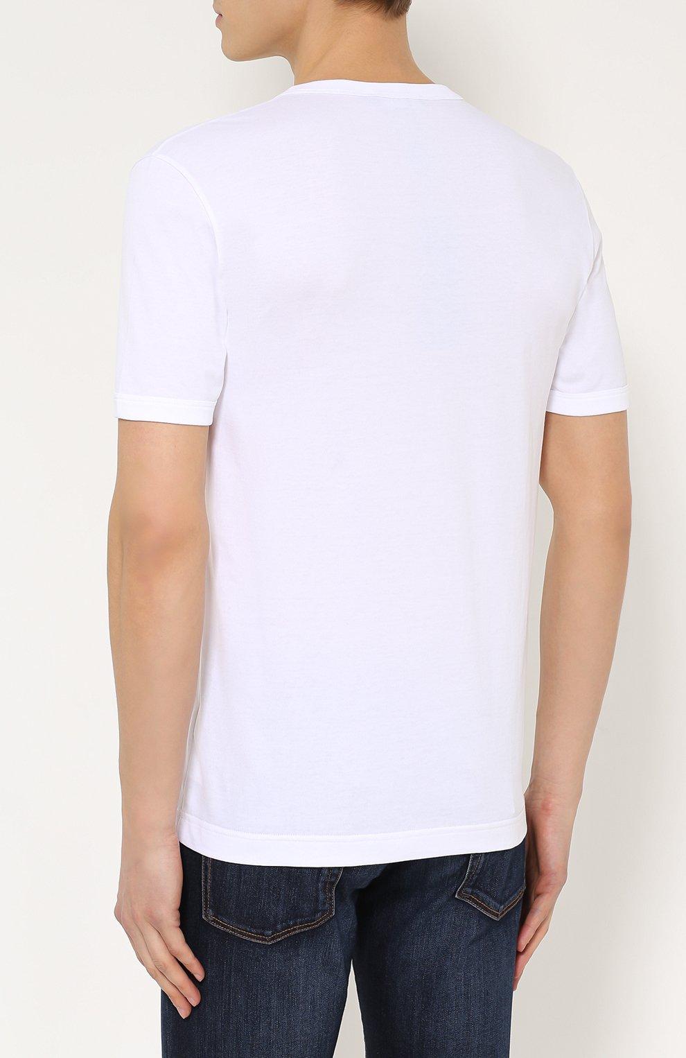 Хлопковая футболка с V-образным вырезом и аппликацией Dolce & Gabbana белая | Фото №4