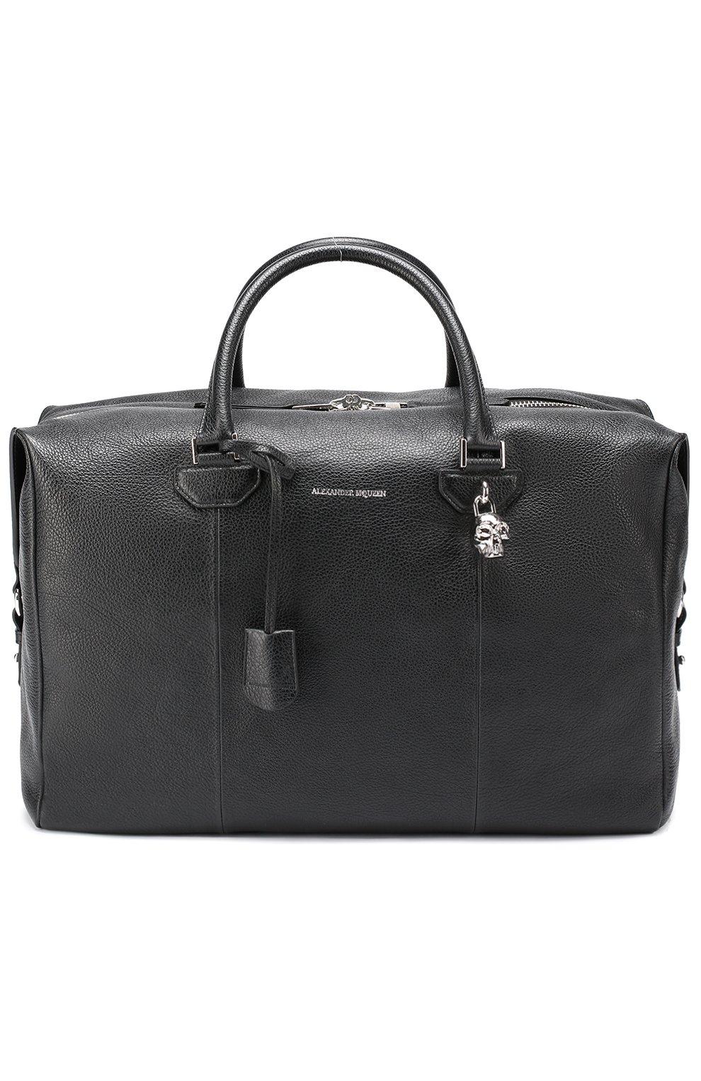1b2206c8c9dd Кожаная дорожная сумка с плечевым ремнем Alexander McQueen черная   Фото №1