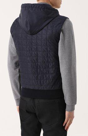 Утепленный стеганый жилет на молнии с капюшоном Dolce & Gabbana темно-синий | Фото №4