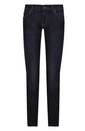 Джинсы прямого кроя с контрастной прострочкой Dolce & Gabbana темно-синие | Фото №1