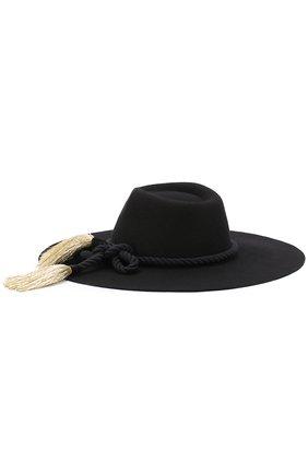 Шерстяная шляпа с кистями Benoit Missolin черного цвета | Фото №1