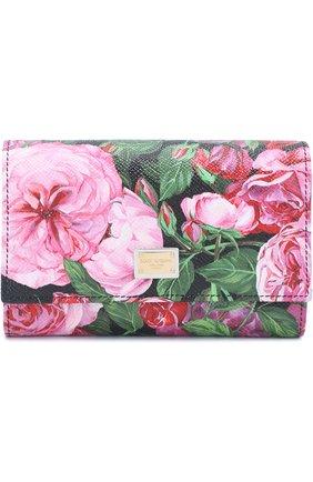 Кожаное портмоне с принтом Dolce & Gabbana розового цвета   Фото №1