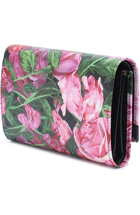 Кожаное портмоне с принтом Dolce & Gabbana розового цвета   Фото №2