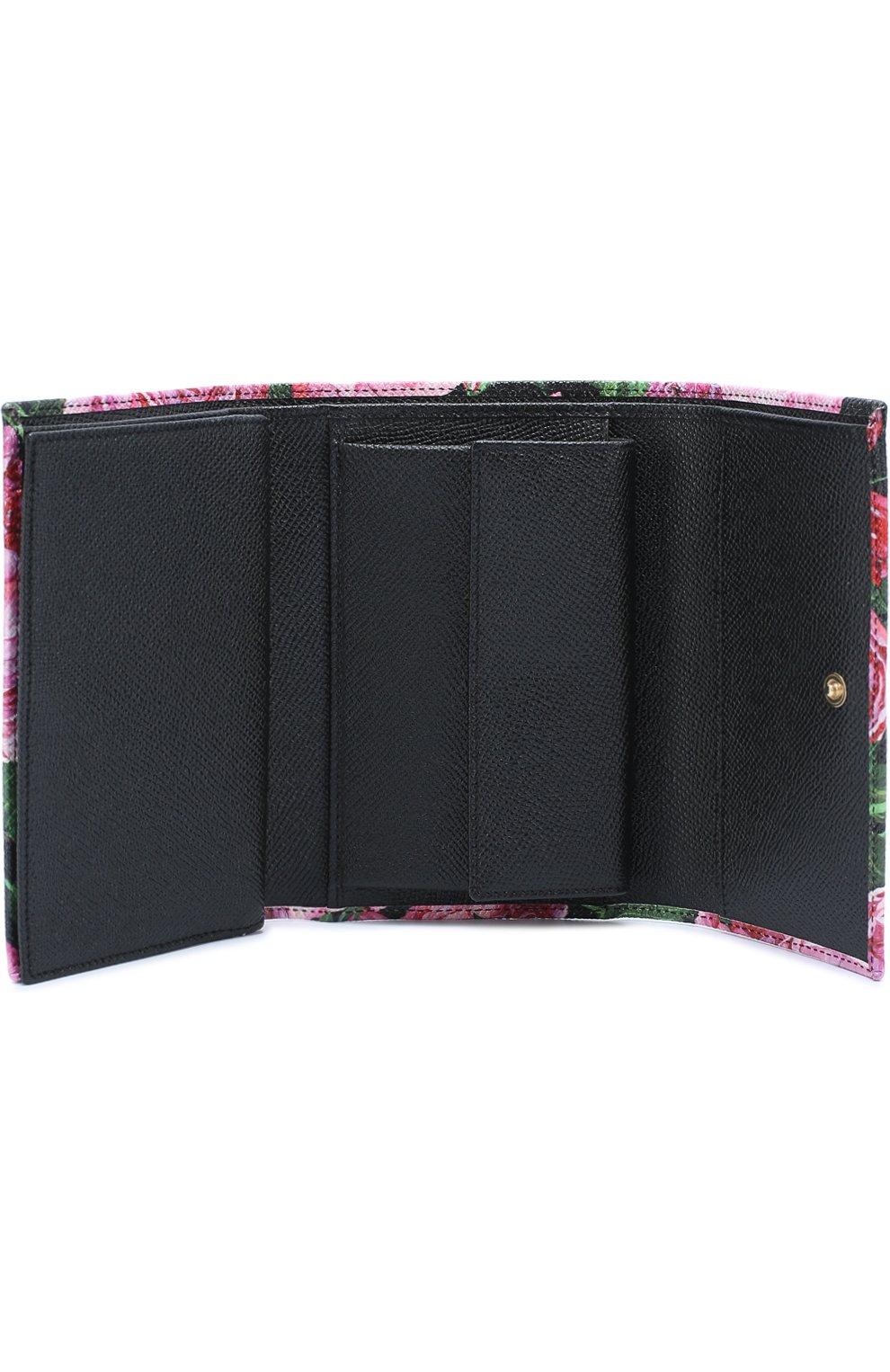 Кожаное портмоне с принтом Dolce & Gabbana розового цвета   Фото №3
