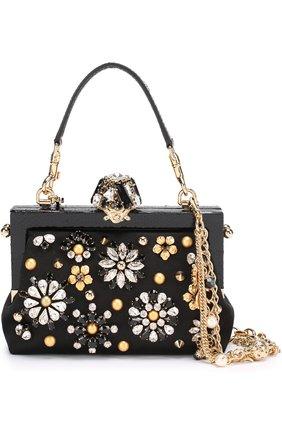 Клатч Vanda с отделкой кристаллами Dolce & Gabbana черного цвета | Фото №1