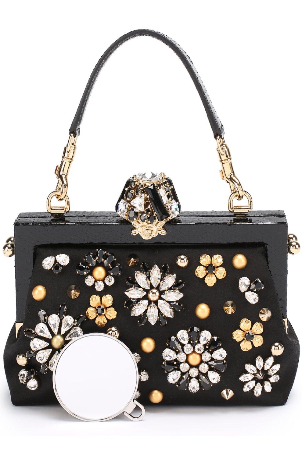 Клатч Vanda с отделкой кристаллами Dolce & Gabbana черного цвета | Фото №6