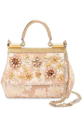 Сумка Sicily small с отделкой кристаллами Limited edition Dolce & Gabbana золотого цвета   Фото №1