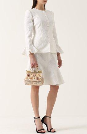 Сумка Sicily small с отделкой кристаллами Limited edition Dolce & Gabbana золотого цвета   Фото №2