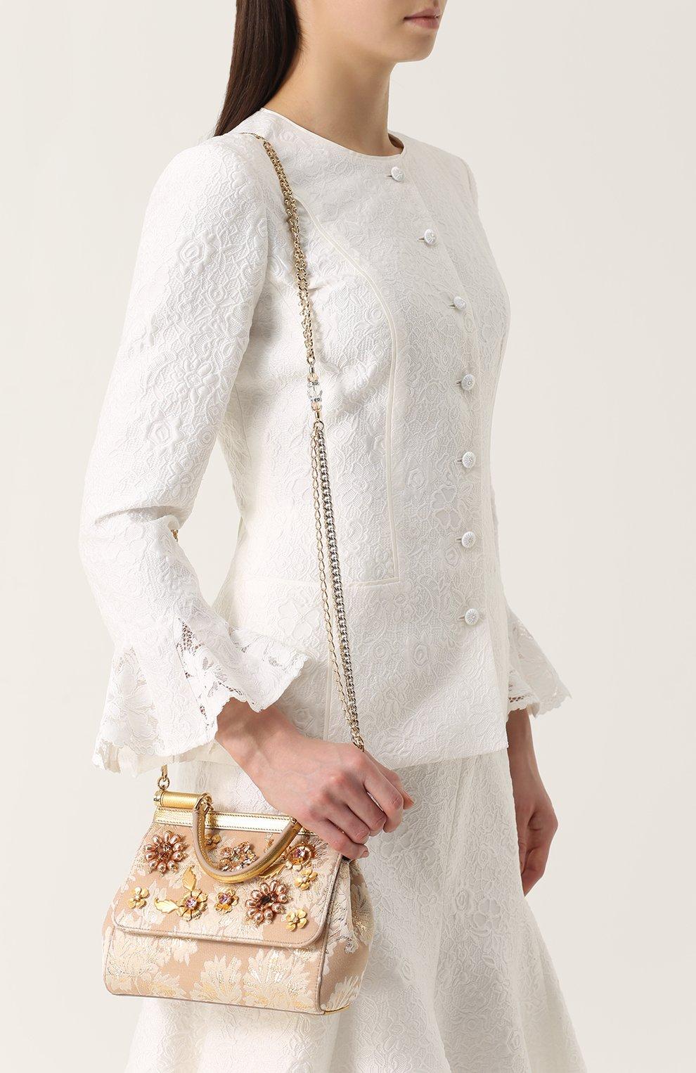 Сумка Sicily small с отделкой кристаллами Limited edition Dolce & Gabbana золотого цвета   Фото №5
