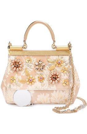 Сумка Sicily small с отделкой кристаллами Limited edition Dolce & Gabbana золотого цвета   Фото №6